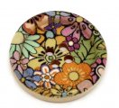 Multicolor Flower 4 Holes Wood Painting Sewing Buttons Scrapbooking 30mm, sold per packet of 30