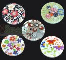 Mixed Flower 4 Holes Wood Sewing Buttons Scrapbooking 40mm, sold per packet of 50