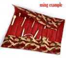 Red Knitting Needle Case (DP & Hooks) 47x38cm, sold per packet of 1