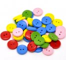 Mixed 2 Holes Wood Painting Sewing Buttons Scrapbooking 15mm, sold per packet of 500