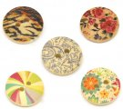 Mixed 2 Holes Wood Painting Sewing Buttons Scrapbooking 18mm, sold per packet of 100
