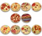 Mixed 2 Holes Wood Painting Sewing Buttons Scrapbooking 15mm, sold per packet of 100