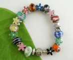 Handmade Snake Chain Flower Charm Bracelet. Fits Pandora 22cm, sold per packet of 1