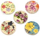 Mixed Multicolor Flower 4 Holes Wood Painting Sewing Buttons Scrapbooking 30mm, sold per packet of 50
