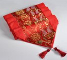 Red Satin Table Runner 2.1x0.33M Chinese Brocade for Wedding Decoration