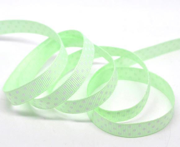 "Green Dot 3/8"" Wide Wedding Craft Grosgrain Ribbon, sold per packet of 10 Yards (9M) - Click Image to Close"